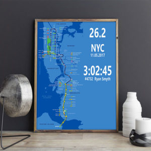New York Marathon Personalized Running Map Gifts for Runners